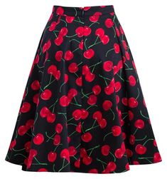This vintage and pinup inspired cherry print swing skirt is just the perfect piece for any gals wardrobe. Wear this for a special event for a classy look or dress down with flats for a fun rockabilly look. Zip closure in back.