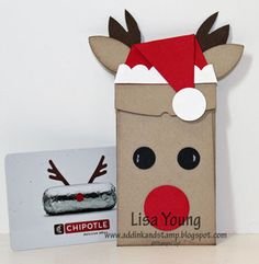 Add Ink and Stamp: Reindeer Gift Card Holder