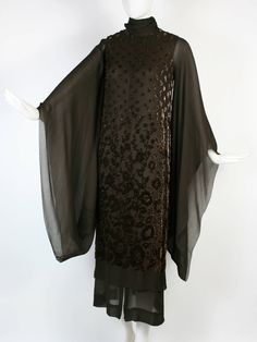 Christian Dior 1969 Haute Couture Silk Gown Kimono Sleeves- In Met Museum