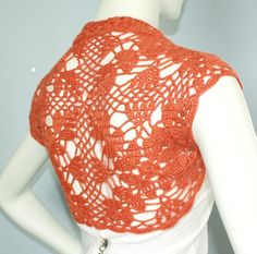 Burnt Orange bridal Bolero Shrug sweater jacket cover-up hand knit crochet for wedding size M. $49.00, via Etsy.