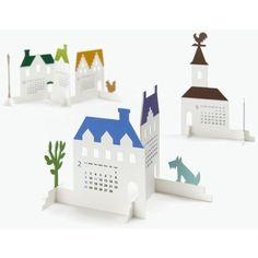 "Calendar 2014 ""Town"" Calendar by Katsumi Tamura Origami Paper Art, Paper Crafts, Kalender Design, Creative Calendar, Calendar 2014, Calendar Ideas, Visual Communication Design, Up Book, Call For Entry"