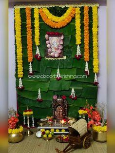 Decor by Krishna AP/ Telangana/ Karnataka/ Tamilnadu/ USA/Australia Housewarming Decorations, Diy Diwali Decorations, Backdrop Decorations, Festival Decorations, Flower Decorations, Desi Wedding Decor, Diy Wedding Backdrop, Ganesh Chaturthi Decoration, Ganpati Decoration At Home