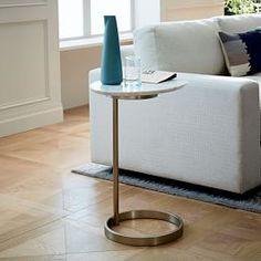 More than just a sidekick to a sofa, our Hex Side Table gives new meaning to multifaceted—its veined marble top makes each piece is subtly unique. Mix and match colors or place a few side by side to use as a coffee table in a larger honey Pedestal Side Table, Sofa Side Table, White Side Tables, Sofa Tables, Small Tables, Coffee Tables, Bedside Tables, Small Dining, Console Tables
