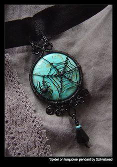 Spider on turquoise pendant by bodaszilvia.deviantart.com on @deviantART & on http://www.etsy.com/shop/bodaszilvia