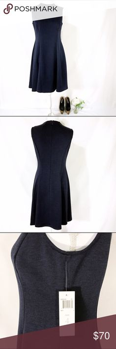 "Donna Morgan Navy Fit and Flare Dress NWT Beautiful Donna Morgan dress. Fit and flare style. Sleeveless and reaches the knee on most (37.5""). Bust 34.5"", Waist 26.5"", Hip 36.5"". NWT. Donna Morgan Dresses"
