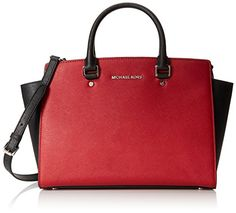 Women's Top-Handle Handbags - MICHAEL Michael Kors Large Selma ZipTop Satchel ScarletBlack *** Read more at the image link.