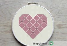 Geometric heart diamond shape in different shades of mauve. Fits a 5 inch hoop (stitched on 14 count aïda) Try different color combinations and fabrics to create a new look every time! The pattern comes as a PDF file that youll will be able to download immediately after purchase. In