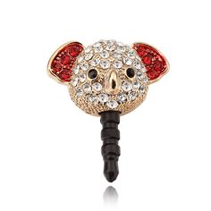 The adorable 3.5mm Earphone plug features a Koala Bear head paved with dazzling rhinestones. The Koala Bear earphone plug stopper prevent dust and debris from entering the phone. Unique animal style adds vitality and vigor to your beloved phone.
