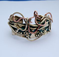 Cuff | Cyndie Smith. 'Life celebration' Brass and copper