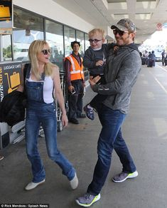 Jetting out: Chris Pratt, his wife Anna Faris and his son Jack flew out of Los Angeles, Ca...
