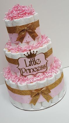 Pink And Gold Little Princess Diaper Cake Baby Shower