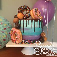 Donut drip cake - cake by sweet scene cakes beautiful cakes Pretty Cakes, Cute Cakes, Beautiful Cakes, Amazing Cakes, Donut Birthday Parties, 10th Birthday, Birthday Cakes, Birthday Ideas, Extreme Cakes
