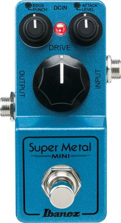 "Ibanez Super Metal Mini Distortion Pedal This little guy packs a huge, high-gain punch. Features - High Gain Distortion Pedal - 9V Battery Operation or power supply (Not Included) - 1.3 Lbs - 4.9"" x 2"