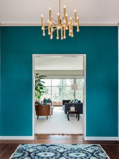 teal accent wall for dining room (window wall) possibly deep red