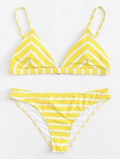 Chevron Bikini Set -SheIn(Sheinside) #bikinis