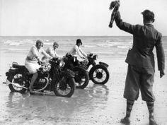 Women Racing Motorcycle Race, 1930 Photographic Print