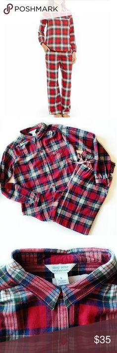 Plaid Portuguese flannel sleep set Sleep sense Portuguese flannel! Super soft and made of 100% cotton. Bright cherry color. Top has one chest pocket. Picture two and three is actual sleep set. I have two size smalls available. If you would like a different size, please ask me availability. These make great christmas morning pajamas! Sleep Sense Intimates & Sleepwear Pajamas