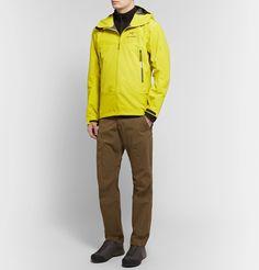 Arc'teryx Beta Sl Hybrid Gore-tex Hooded Jacket In Yellow Hooded Jacket, Bomber Jacket, Gore Tex, Trousers, Pants, Outdoor Gear, Hoods, Zipper, Mens Fashion
