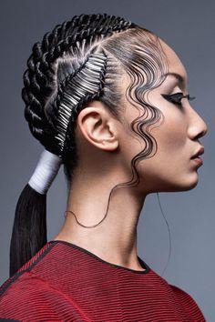 Haare im Gesicht (Hair Braids Ponytail) Pelo Editorial, Beauty Editorial, Hair Afro, Hair Buns, Fantasy Hair, Hair Shows, Creative Hairstyles, Crazy Hair, Hair Inspo