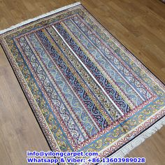 B03 4' x 6' Persian Rug, Silk Face and Silk Fringe, 324kpsi Handmade Rug Made By Yilong Carpet. Color: Black, Red, Light Blue, Yellow, Glod, White etc.  Stripe Pattern.