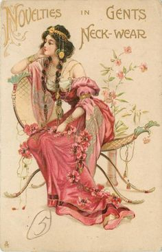 NOVELTIES IN GENTS NECK-WEAR, seated girl in pink, many ornaments