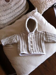 Hooded cardigan with white edging detail by NannysVintageKnit, £14.00