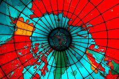 arctic polar region of the Mapparium, a three story stained glass globe viewed from an interior bridge, built 1935 at the Mary Baker Eddy Library (Christian Science Church) in Boston, MA
