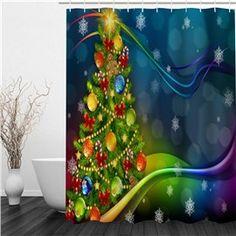 3D Christmas Tree Printed Polyester Waterproof Antibacterial Eco-friendly Shower Curtain