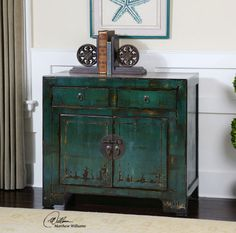 "Rustic Primitive Chinese Asian Turquoise Blue Green Console Cabinet Chest 36""W"