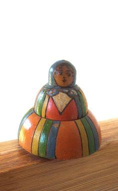 Antique Polish Dolls   Antique Wooden Polish Folk Art Doll Inkwell by lookonmytreasures