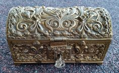 Stunning Victorian Era Ornate Brass Chest/Casket, Victorian Gilt Over Brass Chest/Casket, Lockable Victorian Brass Chest/Casket With Key by OnyxCollectables on Etsy