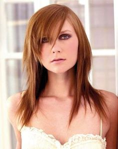 layered hairstyles for long hair with side fringe. long layered hair