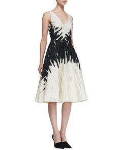 Textured Full-Skirt Jacquard Dress by Lela Rose at Bergdorf Goodman. Pretty