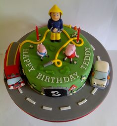 Fireman Sam, Peppa Pig and Olly the Little White Van TV character mash up cake by #CakeyCake