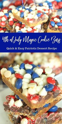 of July Magic Cookie Bars are one simple patriotic dessert. Layers of ingredients bake up into chewy and sweet cookie bars. of July Magic Cookie Bars are one simple patriotic dessert. Layers of ingredients bake up into chewy and sweet cookie bars. Patriotic Desserts, 4th Of July Desserts, Fourth Of July Food, Köstliche Desserts, Summer Desserts, Holiday Desserts, Holiday Baking, Holiday Recipes, Delicious Desserts