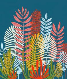 Ferns by Lisa Congdon Art And Illustration, Garden Mural, Mural Wall Art, Art Graphique, Ferns, Street Art, Wallpaper, Decoration, Drawings