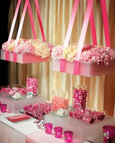 candy buffet ~ hanging floral