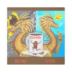 Attitude Adjustment Coffee Dragon Metal Art Sign - metal style gift ideas unique diy personalize