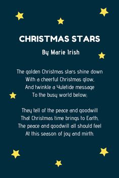 Christmas poems are perfect to share with your family and friends. And to help you out, here are over 20 examples of Christmas poems for kids. Poems About Christmas, Christmas Card Verses, Christmas Stars, Christmas Jingles, Christmas Program, Christmas Cards To Make, A Christmas Story, Xmas Cards, Star Poems