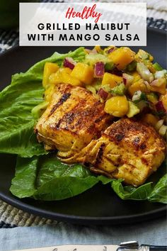 This fish goes great sitting on a bed of rice. You can also substitute the rice for a healthier grain like quinoa making it a healthy, low carb dinner for everyone to enjoy! #halibut #fishrecipes Healthy Grilling, Quick Healthy Meals, Healthy Comfort Food, Grilling Recipes, Mango Recipes, Yummy Recipes, Fall Recipes, Halibut Recipes, Seafood Recipes