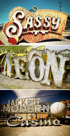 Las Vegas Neon Sign Graveyard. Founded in 1996, the Neon Museum is a non-profit3 organization dedicated to collecting, preserving, studying and exhibiting iconic Las Vegas signs for educational, historic and cultural enrichment.