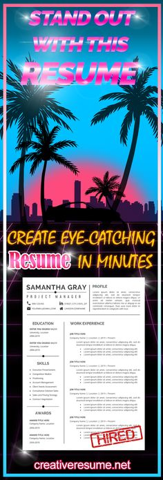 Creative Resume Template for MS Word by FeminineResume Nursing Resume Template, Teacher Resume Template, Resume Design Template, Creative Resume Templates, Cv Words, Resume Words, Resume Writing, College Resume, Student Resume