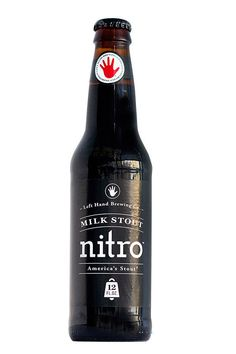 """Left Hand Brewing Co. Nitro Milk Stout  """"This is adventurous because it's so unlike most existing beer labels. It has no specific beer reference at all. It could be for a pharmaceutical, a hand cream or anything. It's really just a type selection and the idea of doing it in white on black. The product is distinguishable from everything else that's around."""" - Milton Glaser"""