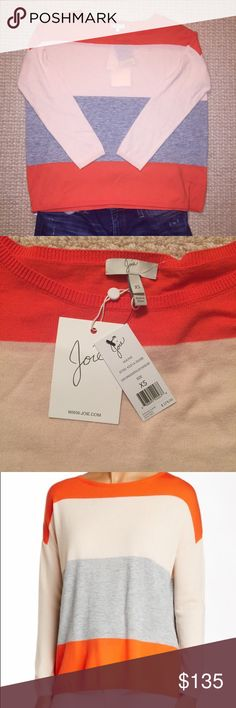 Joie Maine Sweater, NWT. Size XS. Joie Maine Sweater, New With Tags. Size XS. Orange-Rosepetal-Light Heather Grey. 35% Viscose, 24% Wool, 21% Polyester, 20% Nylon. Lightweight, beautiful colors! Photos 3 and 4 show most accurate color. No Trades, No PayPal. Quick Ship. Joie Sweaters Crew & Scoop Necks