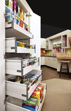 Slide out Pantry shelves for easy access.