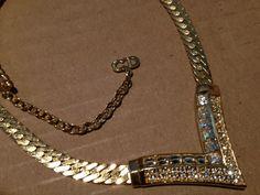 Vintage simple Christian Dior Germany clear rhinestone gold tone V necklace 90s? #ChristianDior #Choker