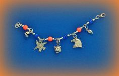 AUBURN Charm Bracelet with hand beading, Tigers Football Tibetan Silver Charms of Tiger & Eagle Head, Eagle, Football, Helmets. WAR EAGLE on Etsy, $15.00