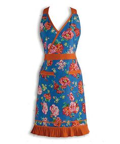 Love this Blue & Orange Floral Apron by Design Imports on #zulily! #zulilyfinds
