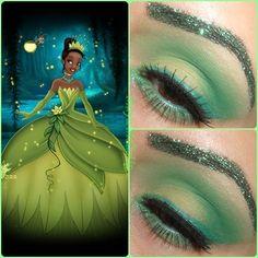 Tiana Inspired Look - Glam Express Nerd Makeup, Eye Makeup Art, Crazy Makeup, Skin Makeup, Blue Makeup, Glitter Makeup, Disney Eye Makeup, Disney Inspired Makeup, Disney Princess Makeup