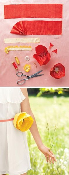 This silk poppy could be work as an accessory for a flower girl or even as a boutonniere if you make a smaller version. When you make your own, you can make it any shade you want and makes a great keepsake.